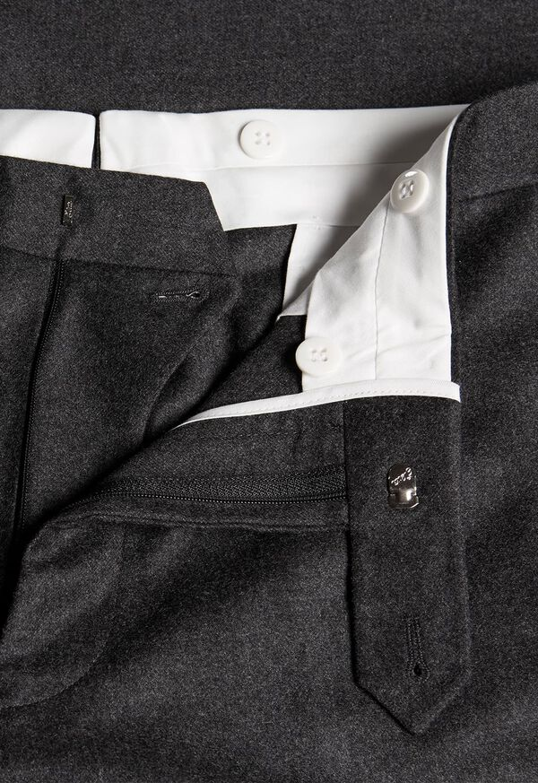 Wool and Cashmere Flannel Plain Front Trouser, image 2