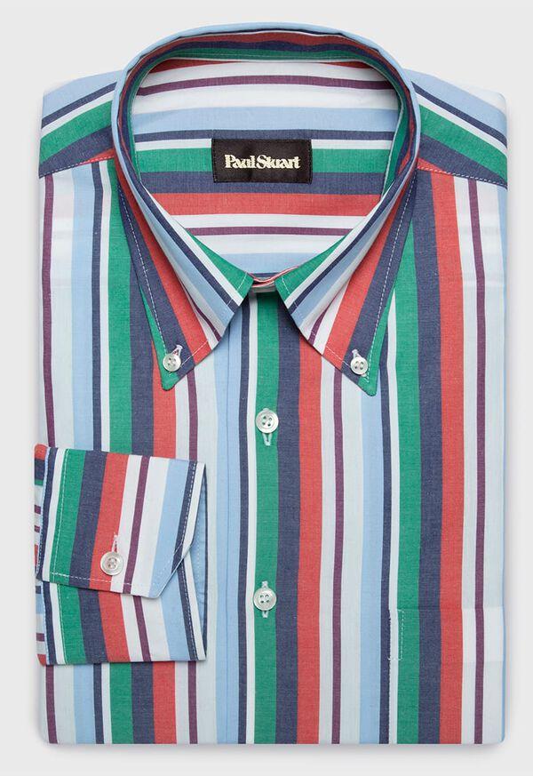 Cotton Multi Stripe Sport Shirt, image 1