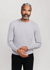 Cotton Crewneck Sweater with Contrast Tipping, thumbnail 1