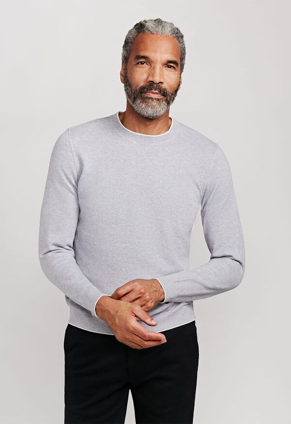 Cotton Crewneck Sweater with Contrast Tipping, image 1