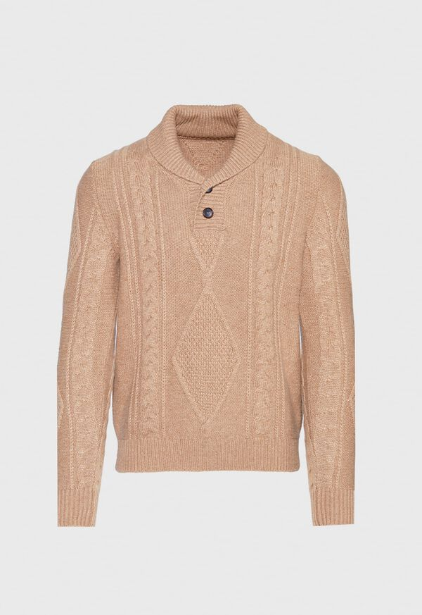Cashmere Cable Knit Shawl Collar Pullover