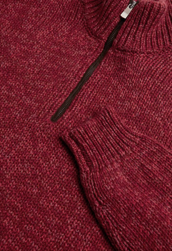 Mouline Quarter Zip with Suede Trim Sweater, image 2