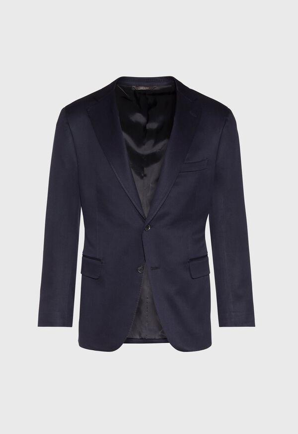 Solid Navy Silk Sport Jacket, image 1