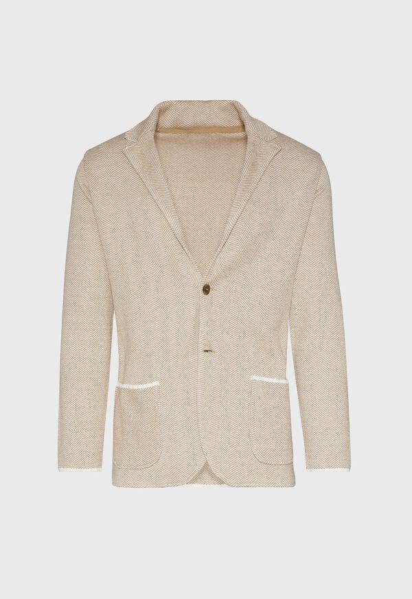 Linen Blend Chevron Sweater Jacket, image 1