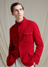 Red Cashmere Military Jacket, thumbnail 2