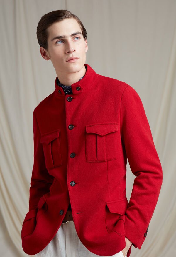 Red Cashmere Military Jacket, image 2