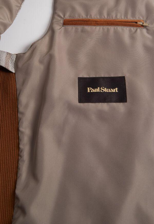 Linen Windowpane Vest with suede trim, image 3