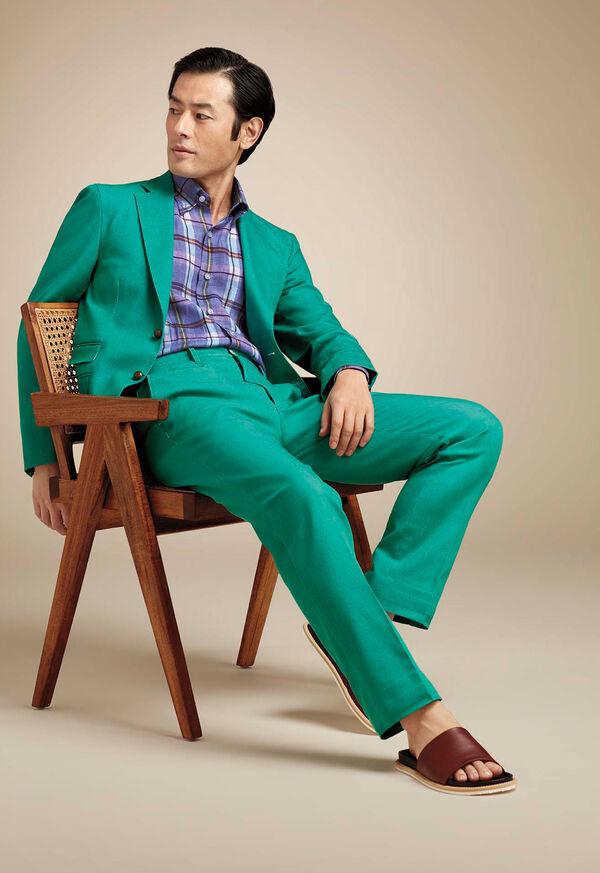 Green Cotton Blend Denim Pant, image 3