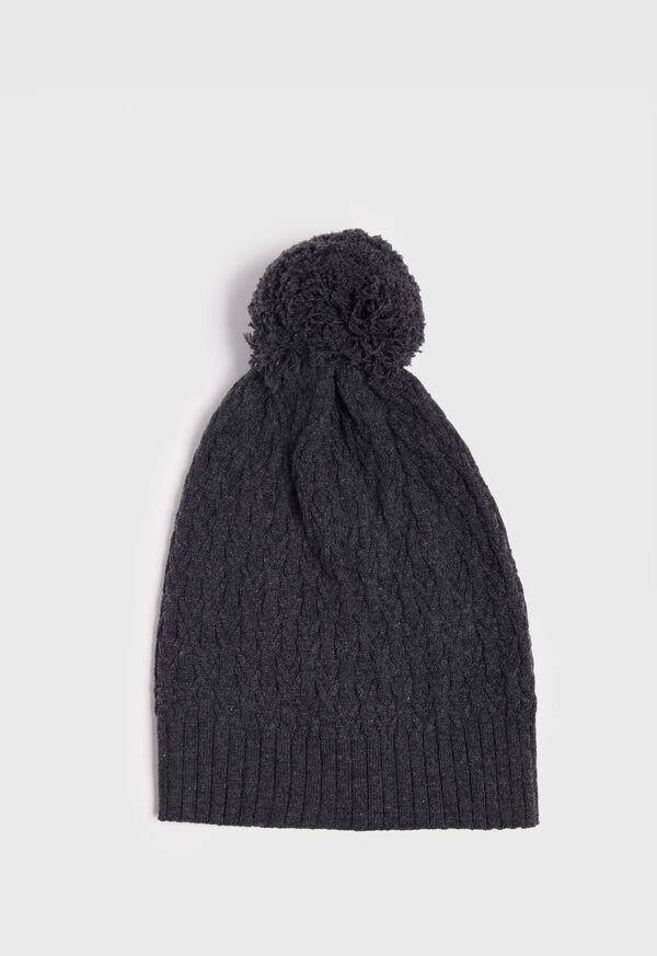 Cashmere Cable Knit Pom Hat, image 1