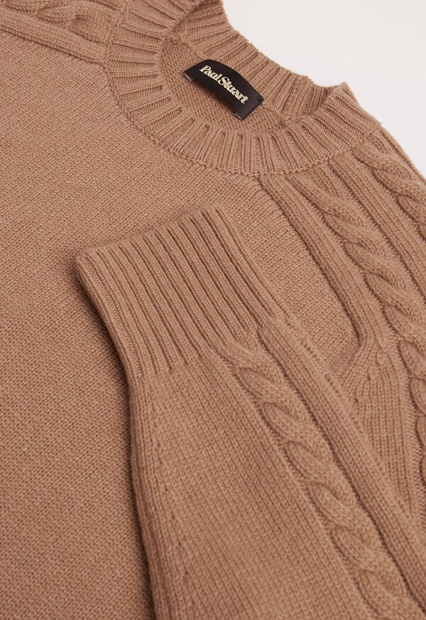 Cashmere Cable Knit Sleeve Crewneck Sweater, image 2