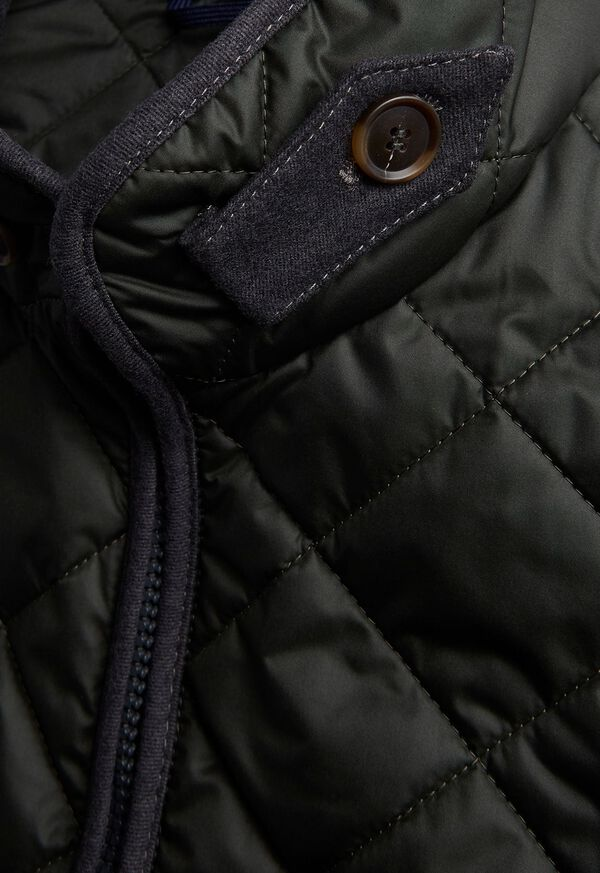 Nylon Quilted Vest with Piping, image 3