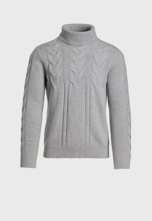 Wool Blend Cable Knit Turtleneck, image 1