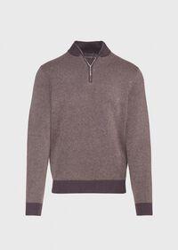Cashmere Bird's Eye Quarter Zip Sweater, thumbnail 1