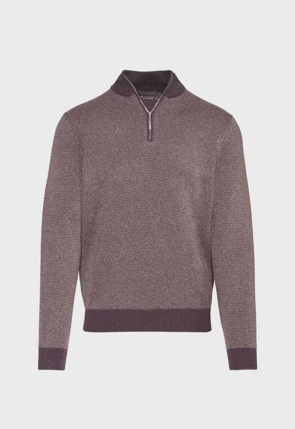 Cashmere Bird's Eye Quarter Zip Sweater, image 1