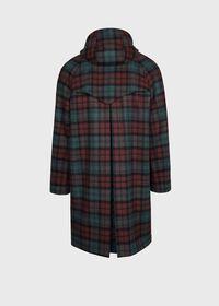 Tartan Plaid Wool Hooded Coat, thumbnail 2