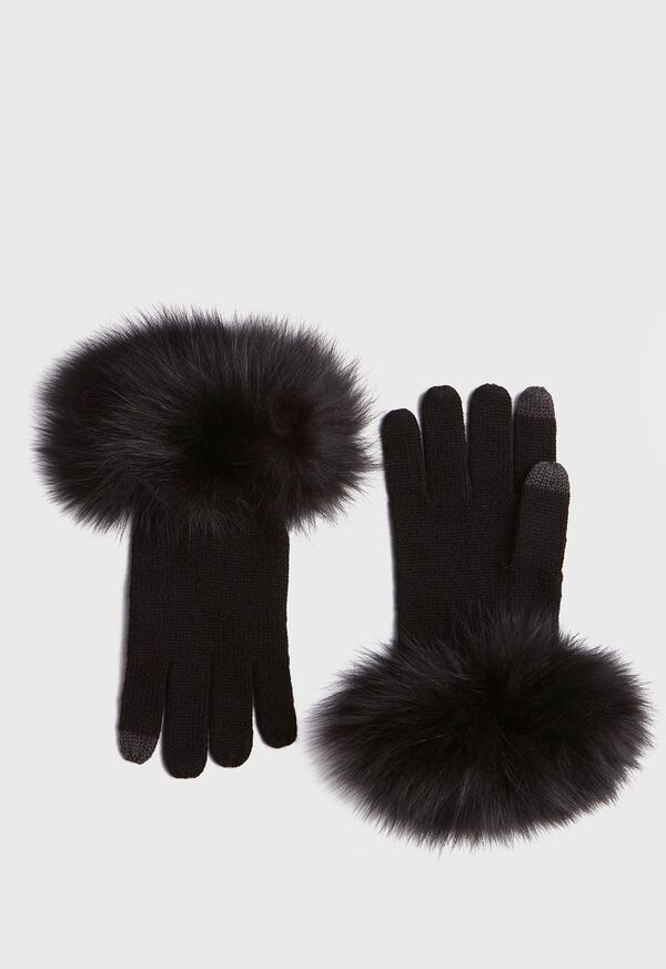 Touchscreen Fox Fur Trim Glove, image 1