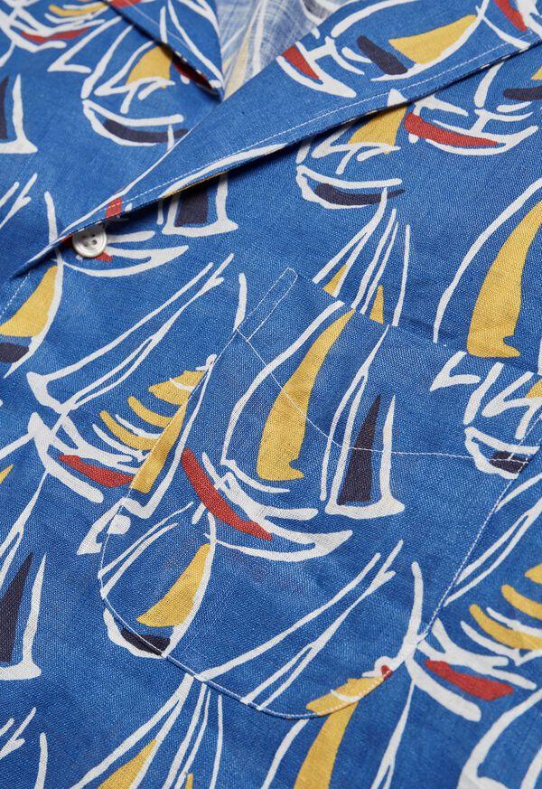 Linen Boat Print Shirt, image 3