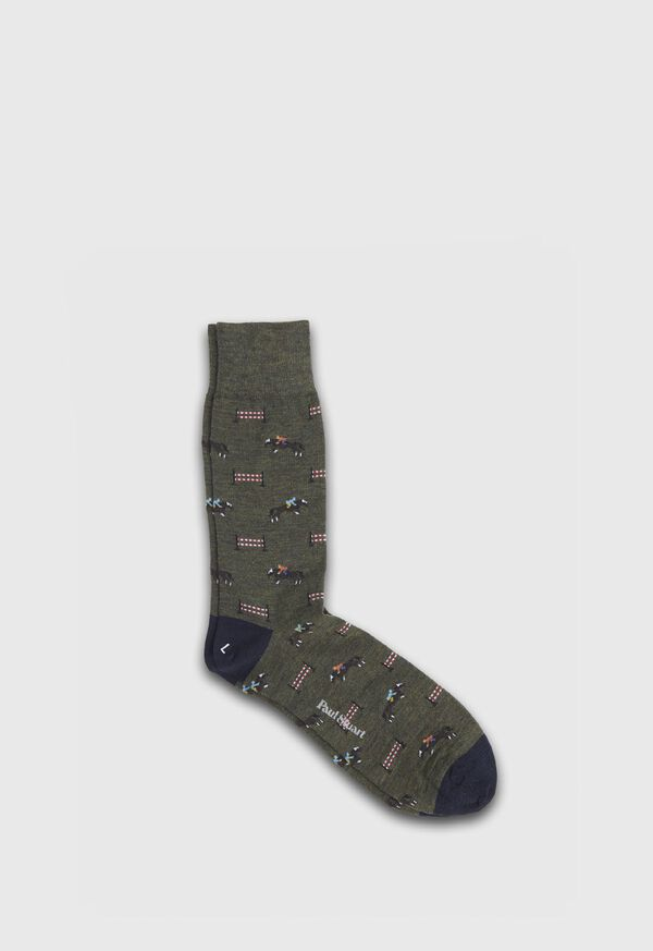 Racing Horse Motif Wool Sock, image 1