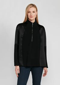 Crepe Zip Front with Contrast Sleeves Top, thumbnail 1