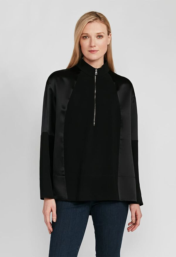 Crepe Zip Front with Contrast Sleeves Top, image 1