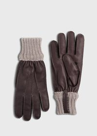 Deerskin Glove with Cashmere Ribbed Cuff, thumbnail 1