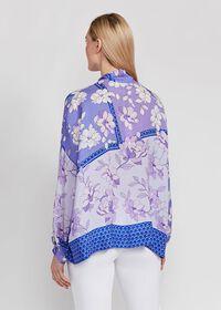 Floral Tie Front Silk Blouse, thumbnail 4
