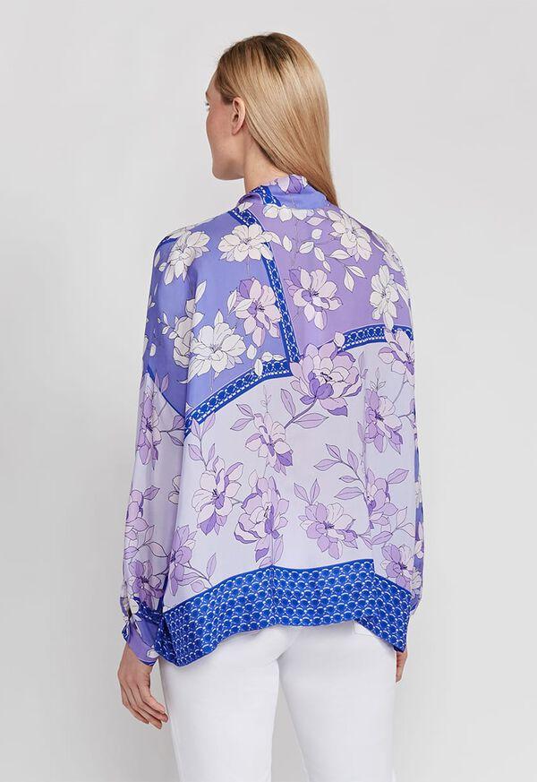 Floral Tie Front Silk Blouse, image 4