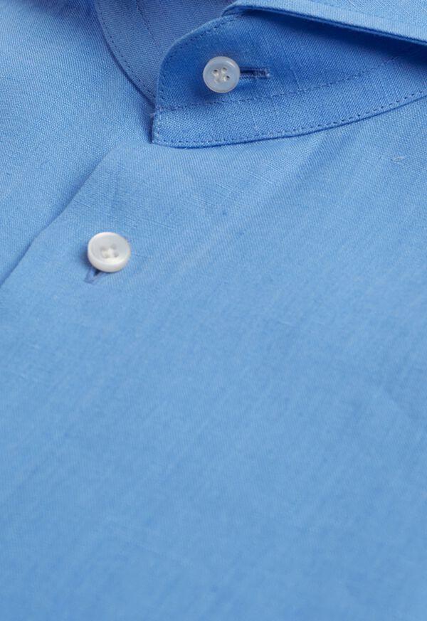 Light Blue Washed Linen Sport Shirt, image 2