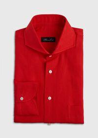 Red solid Long Sleeve Linen Sport Shirt, thumbnail 1