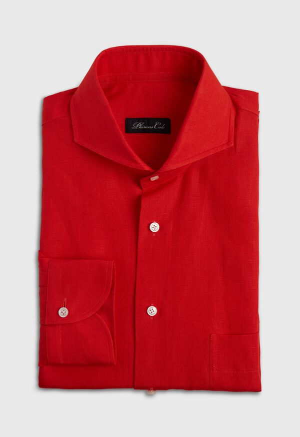 Red solid Long Sleeve Linen Sport Shirt, image 1