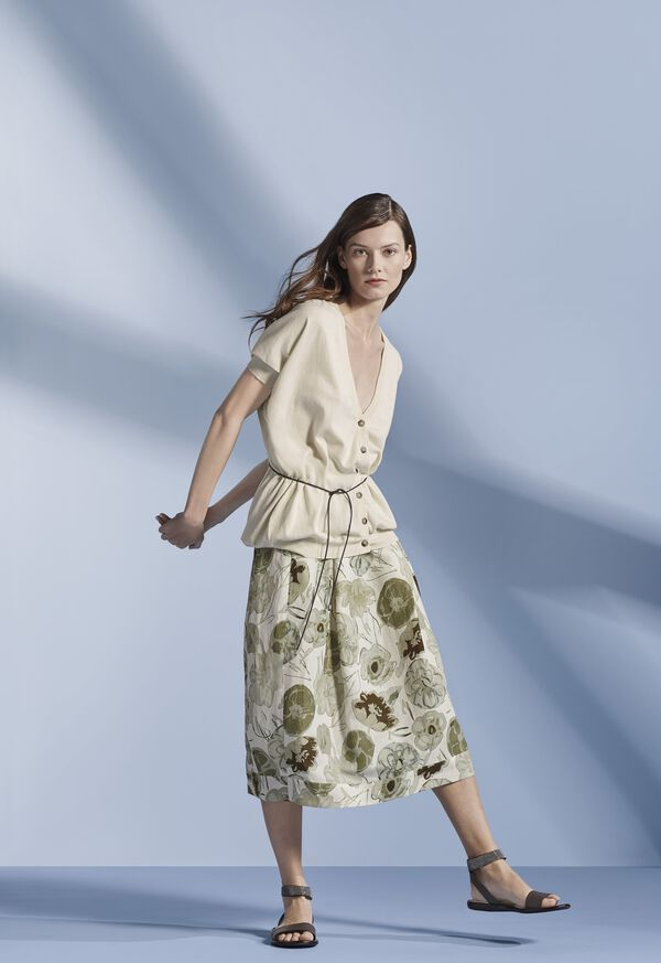 Printed Floral Flared Skirt, image 2