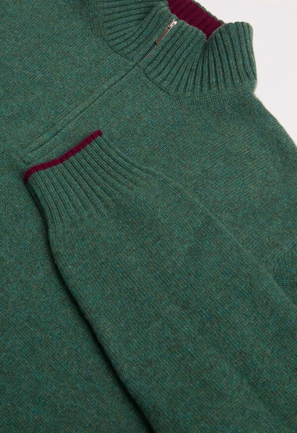 Cashmere Quarter Zip Mock Neck Sweater, image 2