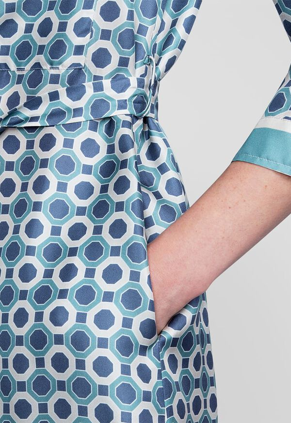 Geometric Print Silk Shirt Dress, image 3