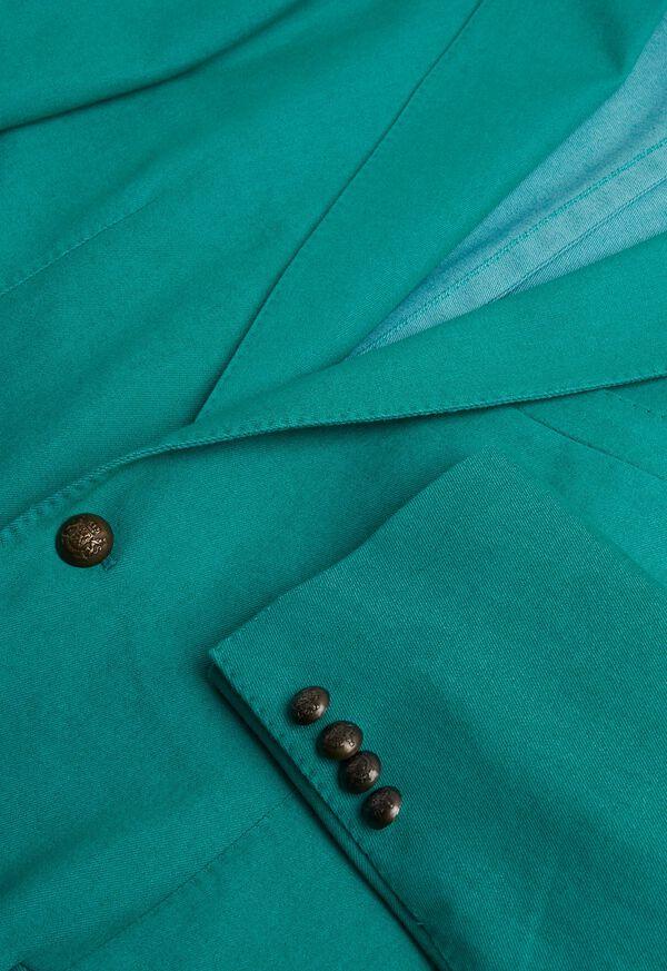 Green Cotton Blend Denim Jacket, image 5