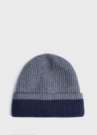 Reversible Two Tone Cashmere Beanie Hat, thumbnail 2