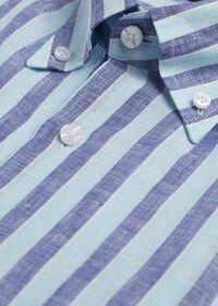Linen 2 Color Awning Stripe Sport Shirt, thumbnail 2