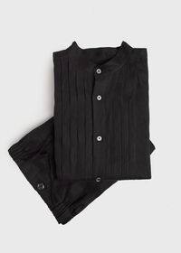 Black Linen Pleated Pull Over Lounge Set, thumbnail 1