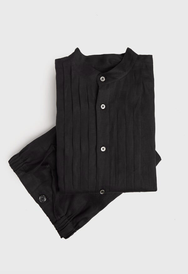 Black Linen Pleated Pull Over Lounge Set, image 1