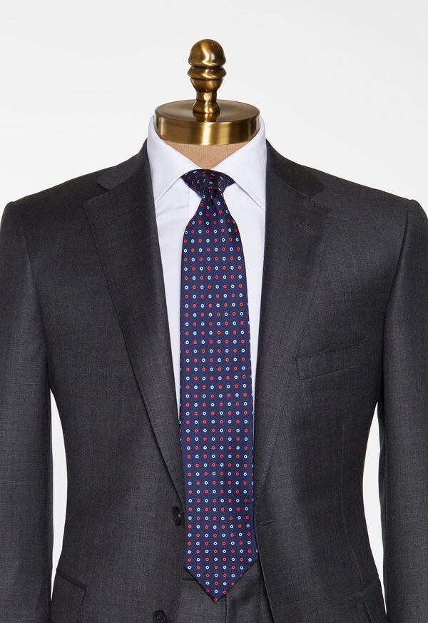 Two Color Circle Silk Tie, image 2