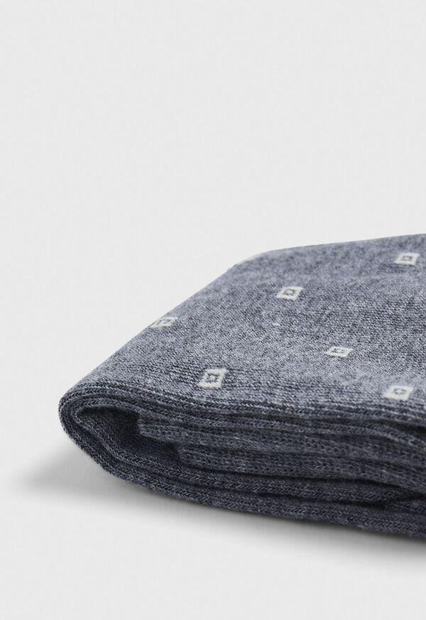 Melange Square Motif Crew Sock, image 2