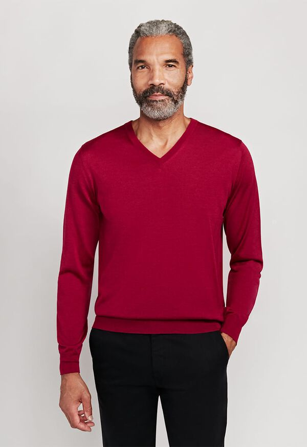 Cashmere and Silk V-Neck Sweater, image 1