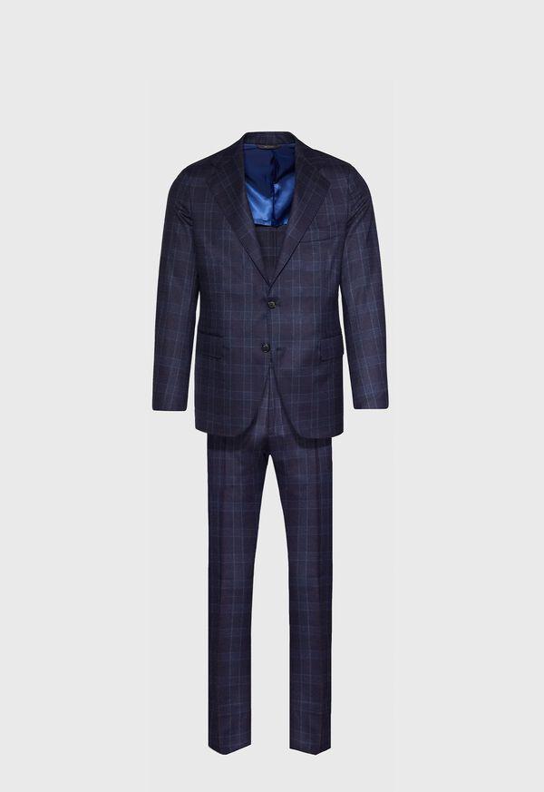 Navy Plaid Wool Suit, image 1